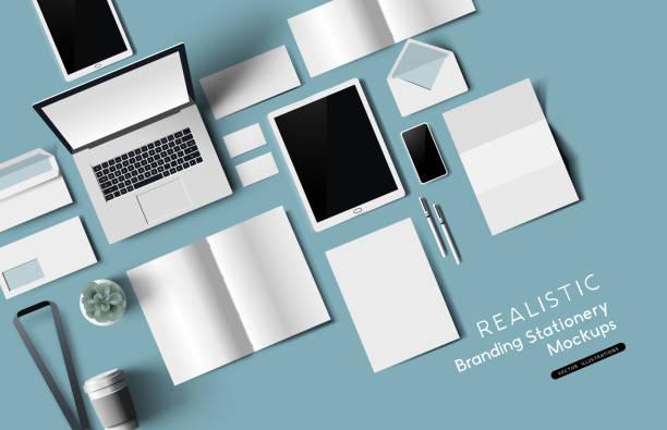 Top View Büro-Stationerie und Objekte Mockup – Vektorgrafik