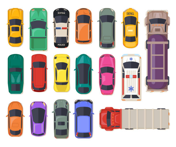 Top view on car, auto transport, police vehicle Set of isolated cars or top view on auto, police vehicle and ambulance, fuel transport truck and freight lorry, family van or minivan, sports car and electrocar. Automobile icons, autotransport hatchback stock illustrations