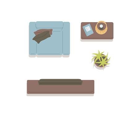 Top view on living room furniture with TV flat vector illustration isolated.