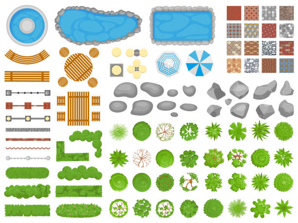 ilustrações de stock, clip art, desenhos animados e ícones de top view park items. garden walkway, outdoor relaxing parks furniture and gardens trees aerial isolated vector illustration set - paisagem