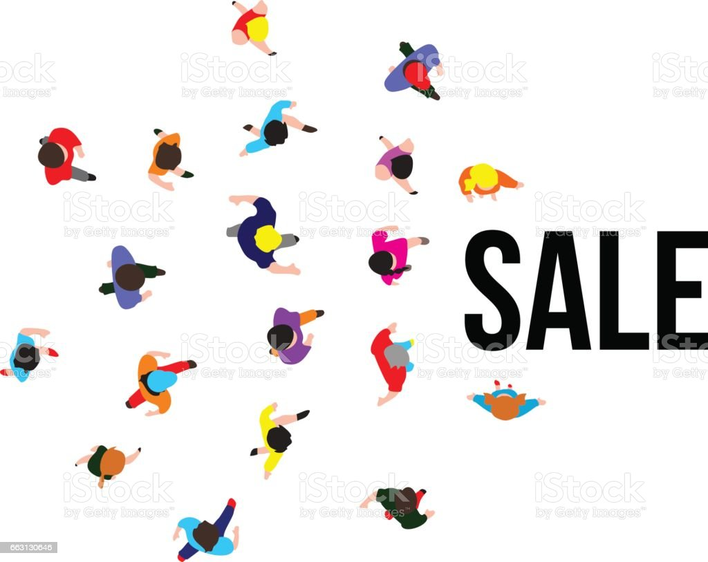 Top View People On Sale Event Vector Illustration Gm663130646 12074033...