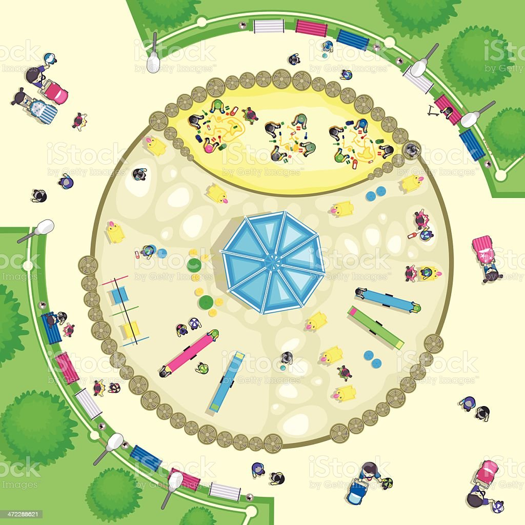Top view Playground vector art illustration
