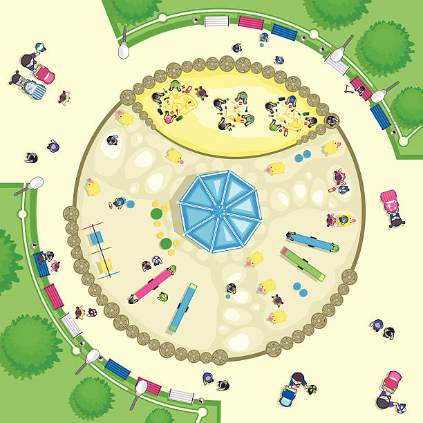 top view playground - recess stock illustrations, clip art, cartoons, & icons
