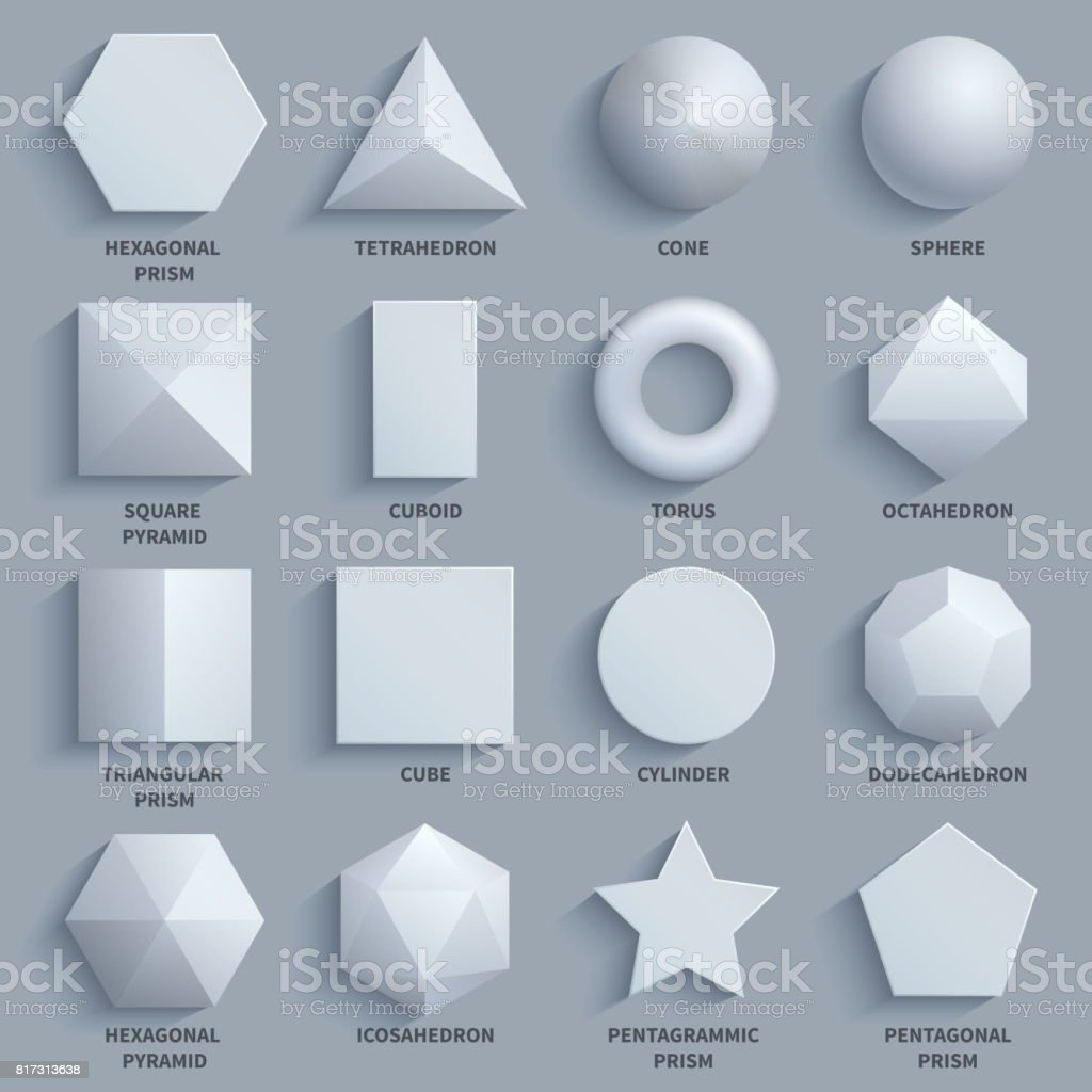 Top view realistic white math basic 3d shapes vector set. Three dimensional geometric figures векторная иллюстрация