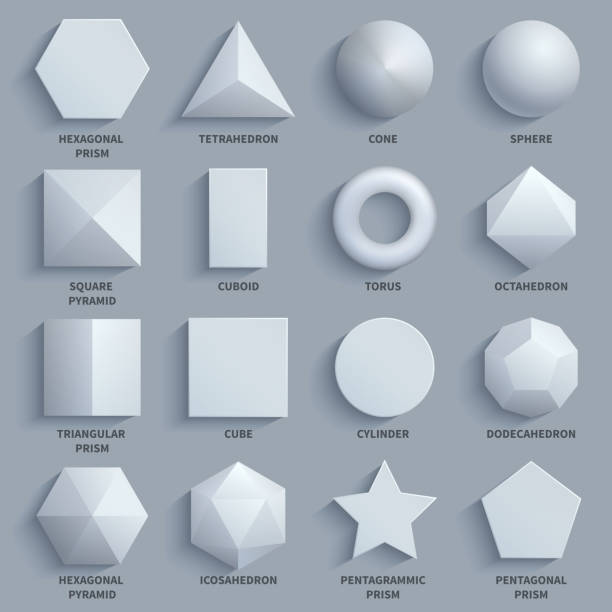Top view realistic white math basic 3d shapes vector set. Three dimensional geometric figures vector art illustration
