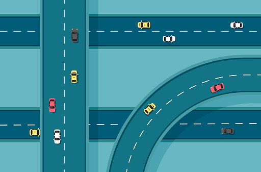 Top view road with different cars.