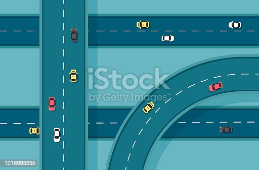 Top view road with different cars. Autobahn and highway junction. City infrastructure with transportation elements.Vector illustration in a flat modern style.