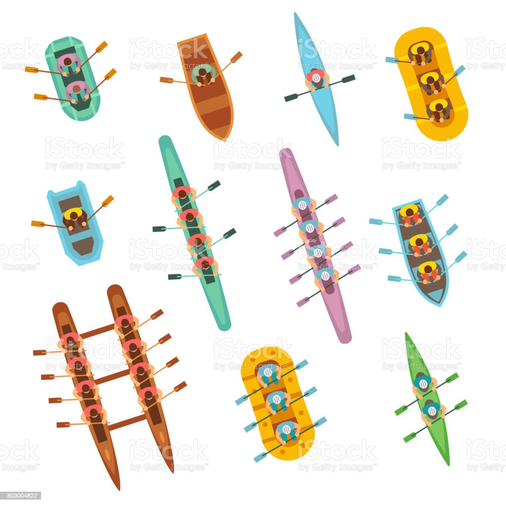 Top view rowing sport boats with team vector set vector art illustration