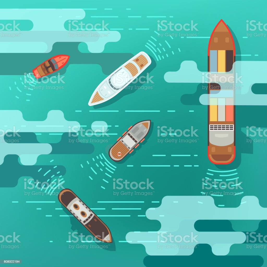 Top view sea ship and shipping boat on ocean water surface vector illustration vector art illustration