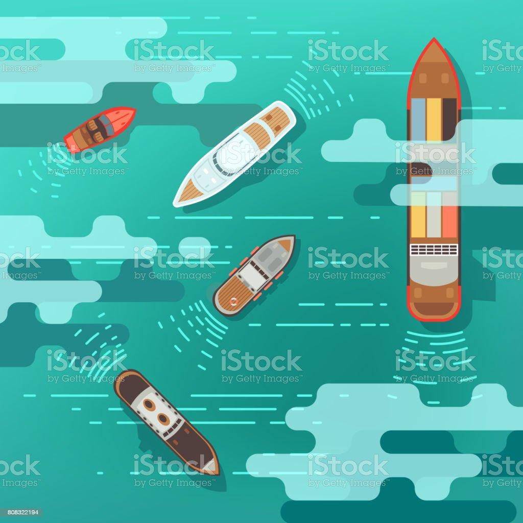 Superior vista mar nave y del barco de envío en la ilustración de vector superficie de agua de mar - ilustración de arte vectorial