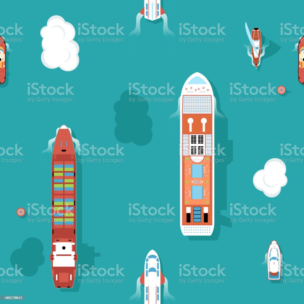 Top view sea ships seamless background vector art illustration