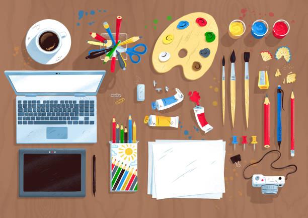 ansicht von oben satz digitalkünstler elemente - schultische stock-grafiken, -clipart, -cartoons und -symbole