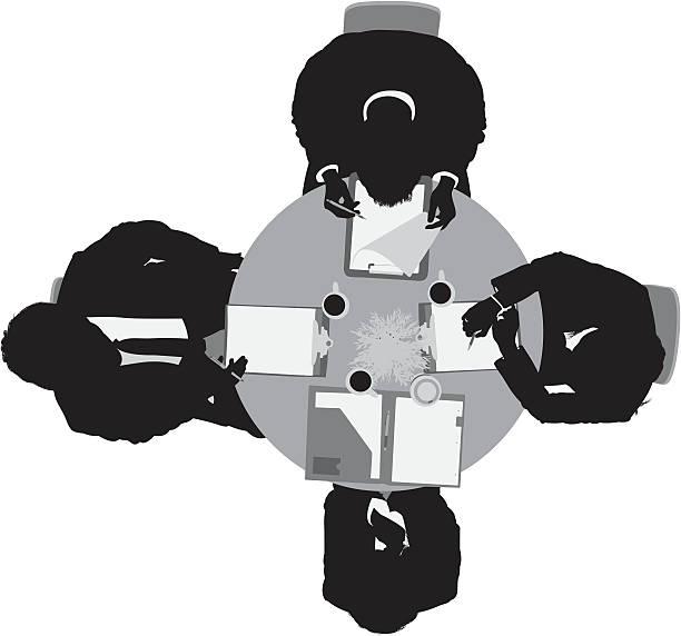 illustrazioni stock, clip art, cartoni animati e icone di tendenza di vista superiore forma di uomini d'affari in riunione - business meeting, table view from above