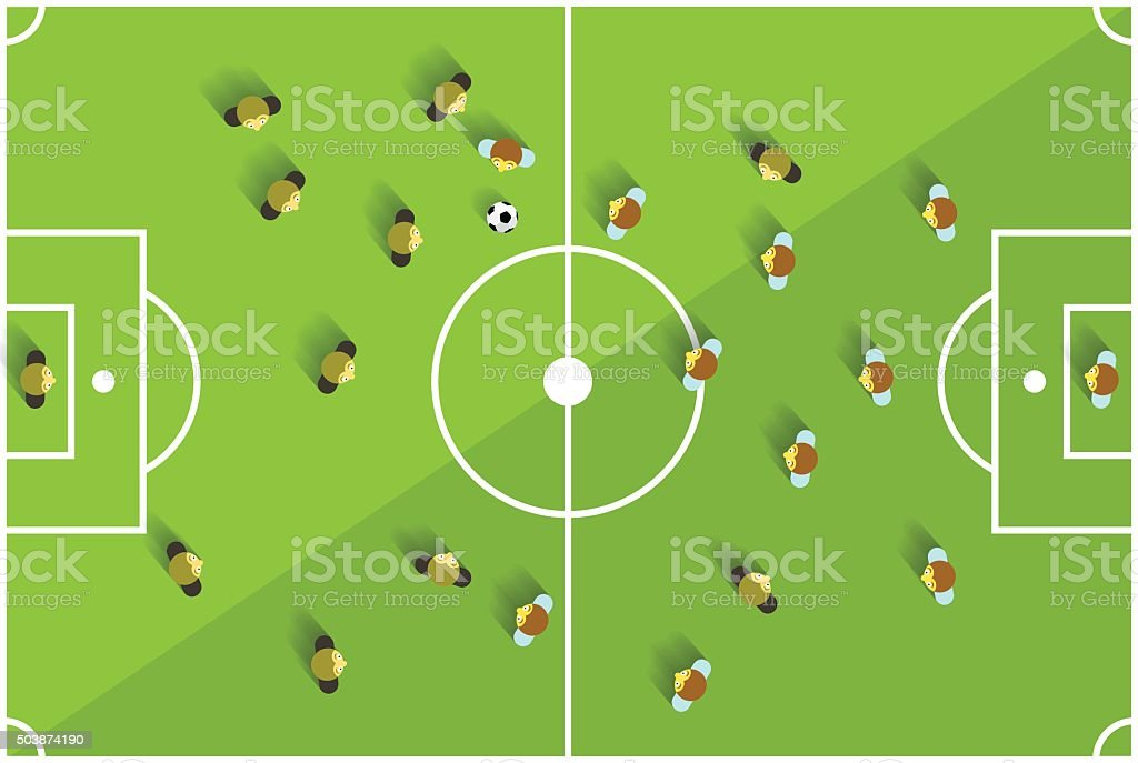 Top View Soccer Playground vector art illustration