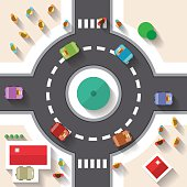 Flat Design Top View Street Roundabout with Cars and People Vector