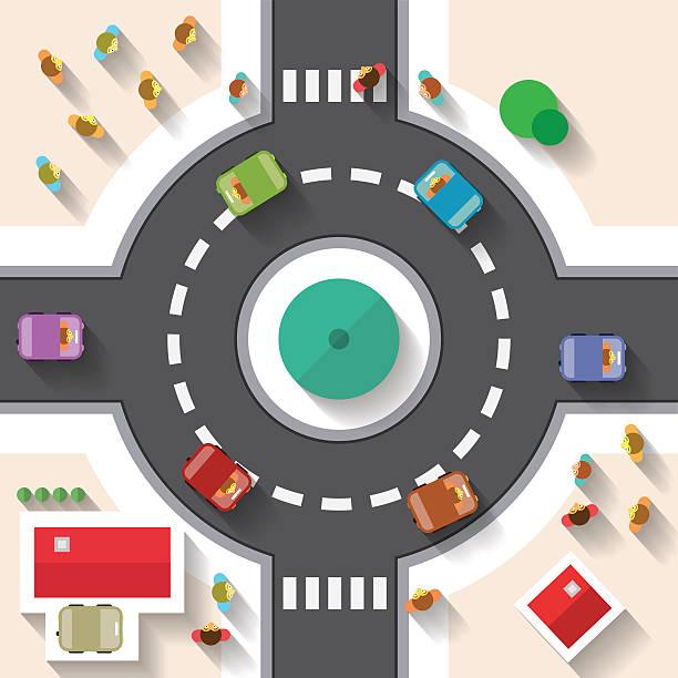 illustrations, cliparts, dessins animés et icônes de vue aérienne de la rue rond-point avec des voitures - rond point