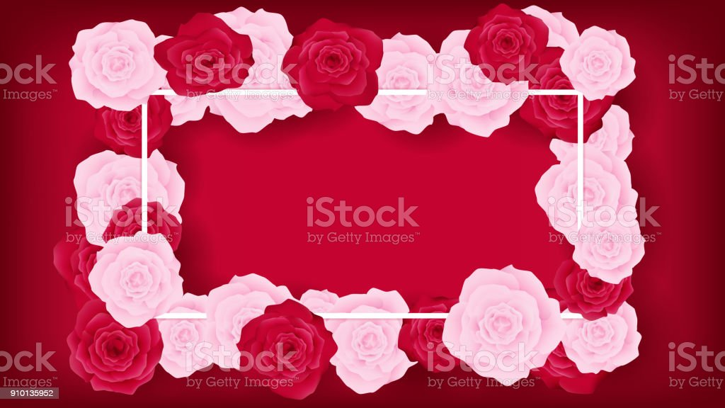 top view sweet invitation decorate in red background