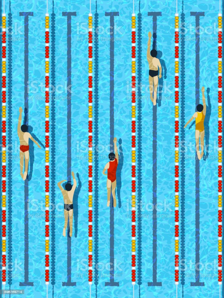 Top view swimming pool with athlete swimmers vector vector art illustration