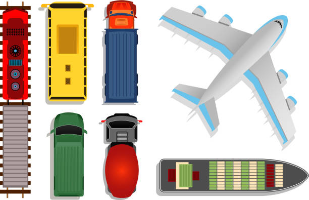 Top view transport vector illustration. Cargo moving by truck and plane, ship and train isolated on white background Top view transport vector illustration. Cargo moving by truck and plane, ship and train isolated on white background. Plane and boat with container aerial view stock illustrations