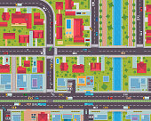 Modern Detail Urban City Map Housing And Commercial Area From Top View Illustration