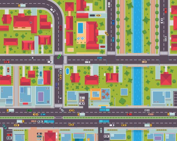 ilustraciones, imágenes clip art, dibujos animados e iconos de stock de mapa de ciudad urbana vista superior ilustración de área de vivienda y comercial - overhead
