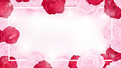 top view valentine floral invitation rounding by pink and red roses