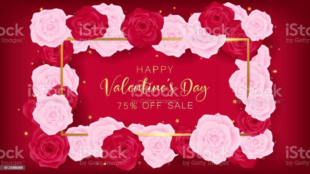 top view valentine's day invitation decorate in red background