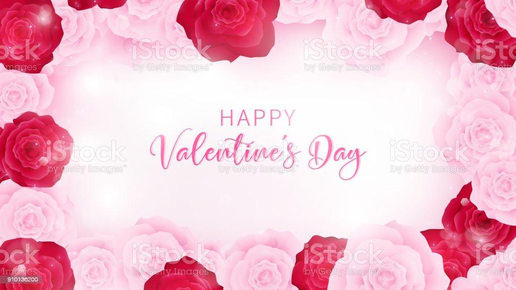 top view valentine's day invitation decorate in white paper