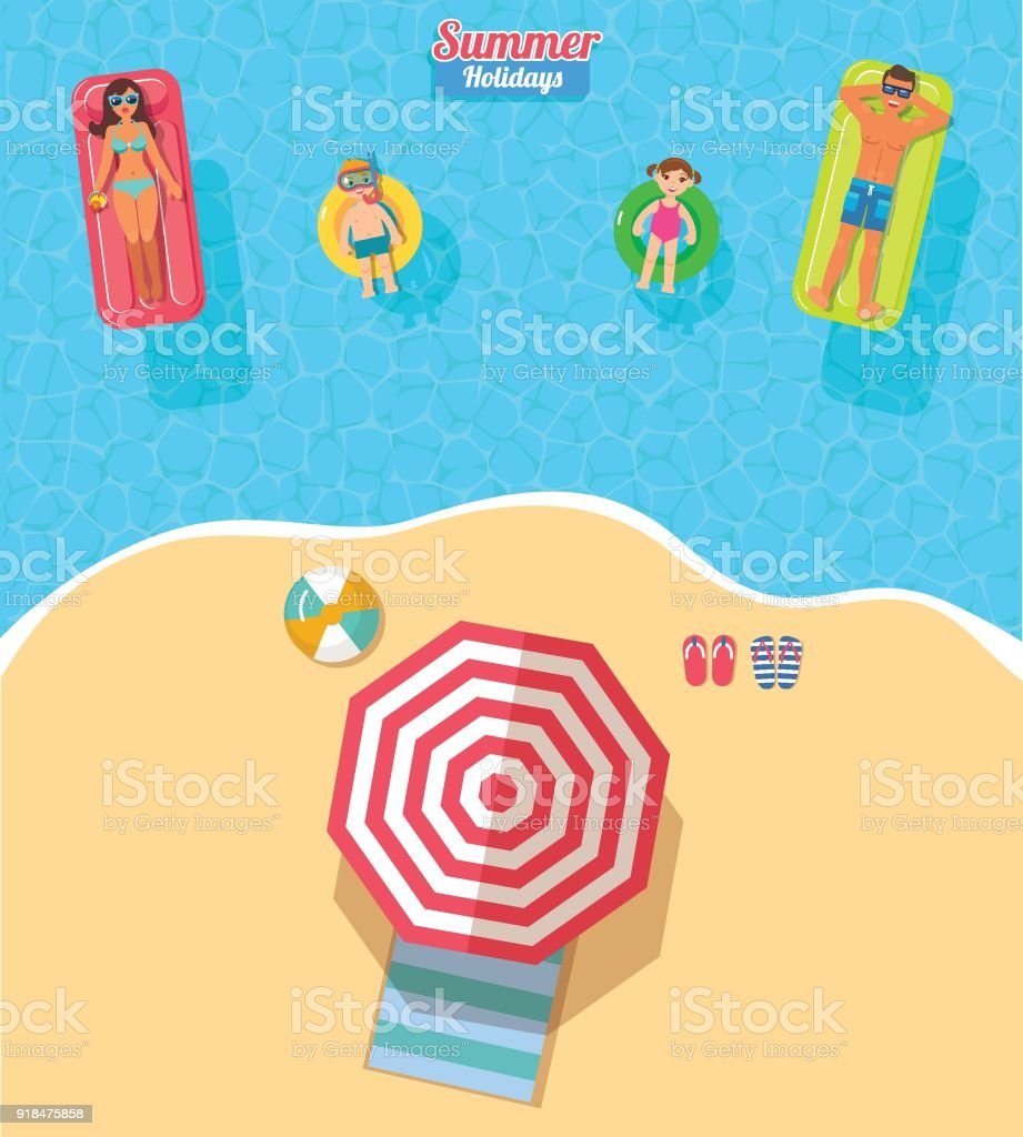 Bandera de vector vista superior con piscina familiar - ilustración de arte vectorial