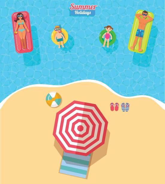 illustrations, cliparts, dessins animés et icônes de bannière de vecteur vue de dessus avec famille de natation - vacances en famille
