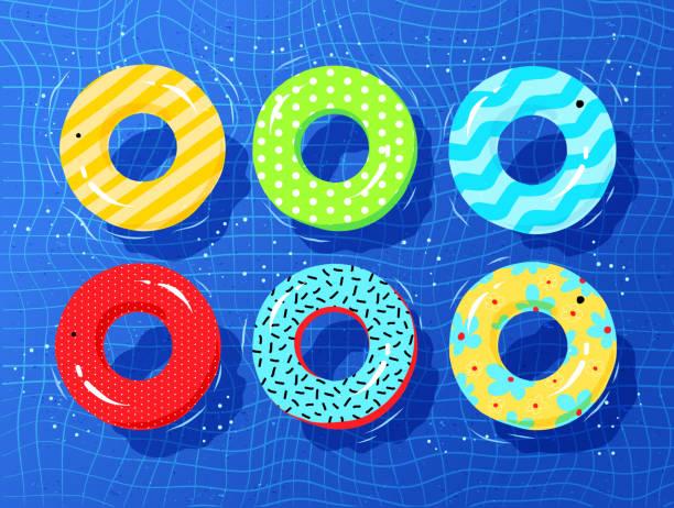 bildbanksillustrationer, clip art samt tecknat material och ikoner med ovanifrån vector insamling av gummiringar - inflatable ring