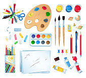Top view vector illustration set of artist workplace