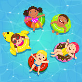 Top view vector of kids floating on inflatable in the pool