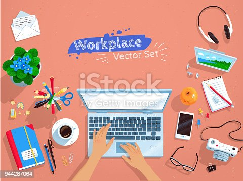 Top view vector illustrations set of office workplace with laptop computer and hands on keyboard.
