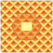 A simple and clean syrup and butter on a waffle background. Everything is grouped into 3 different layers.