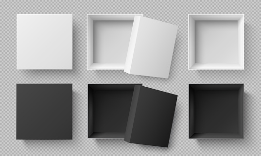 Top view white and black boxes. Realistic 3d cardboard mockup isolated on transparent background. Square package