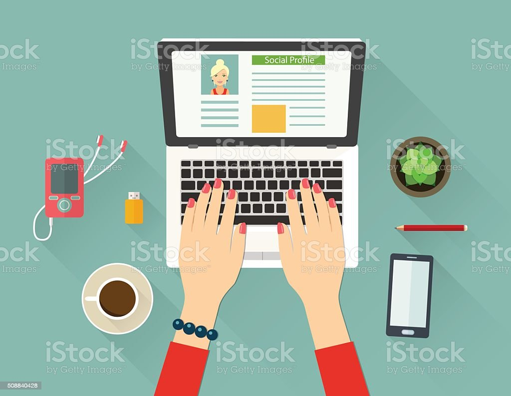 Top view workplace concept. vector flat illustration vector art illustration