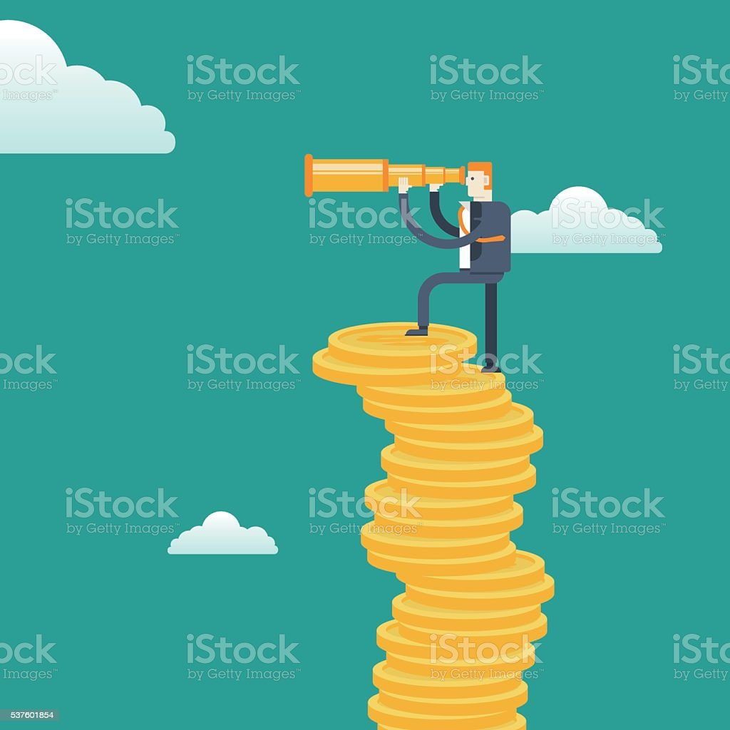 Top view-Businessman with spyglass on Stacks of gold coins vector art illustration