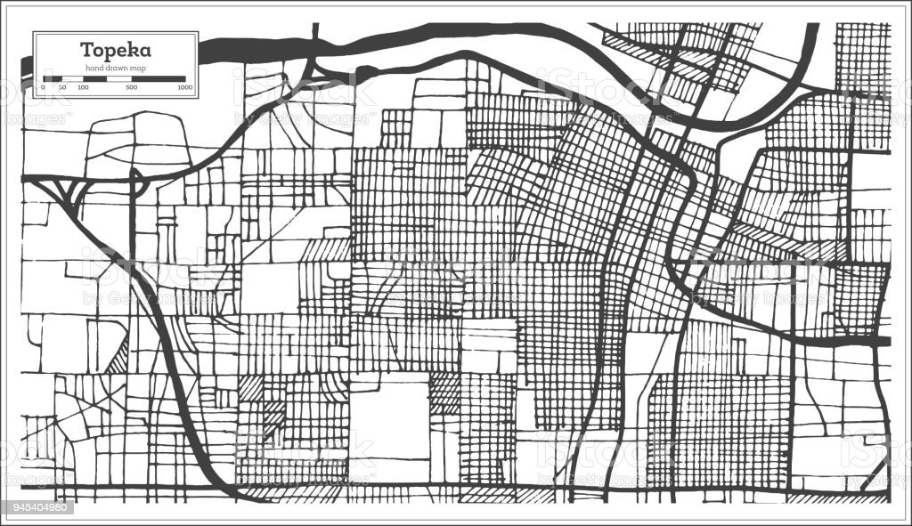 Topeka Kansas Usa City Map In Retro Style Outline Map Stock Vector