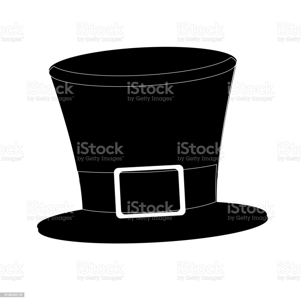 d498f4ef5 Tophat Isolated On White Background Black Silhouette Cylinder ...