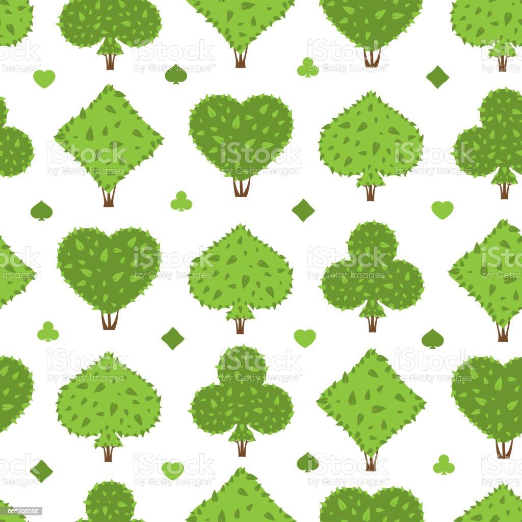 Topiario de patrones sin fisuras. Cuatro juegos de formas de arbustos: corazón de la espada, club, diamante - ilustración de arte vectorial