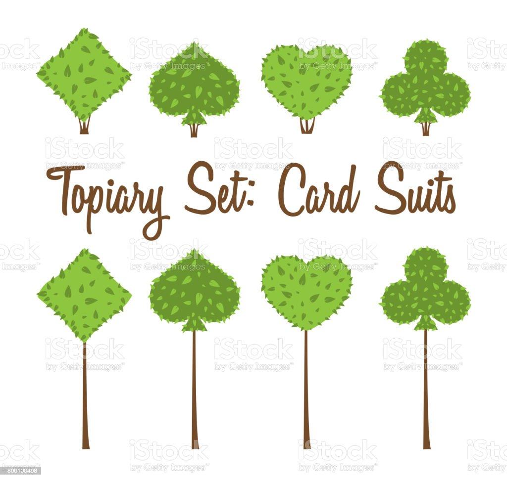 Conjunto del Topiary de cuatro naipes de vector adapta a formas de arbustos y árboles: corazón, espada, diamante, club - ilustración de arte vectorial