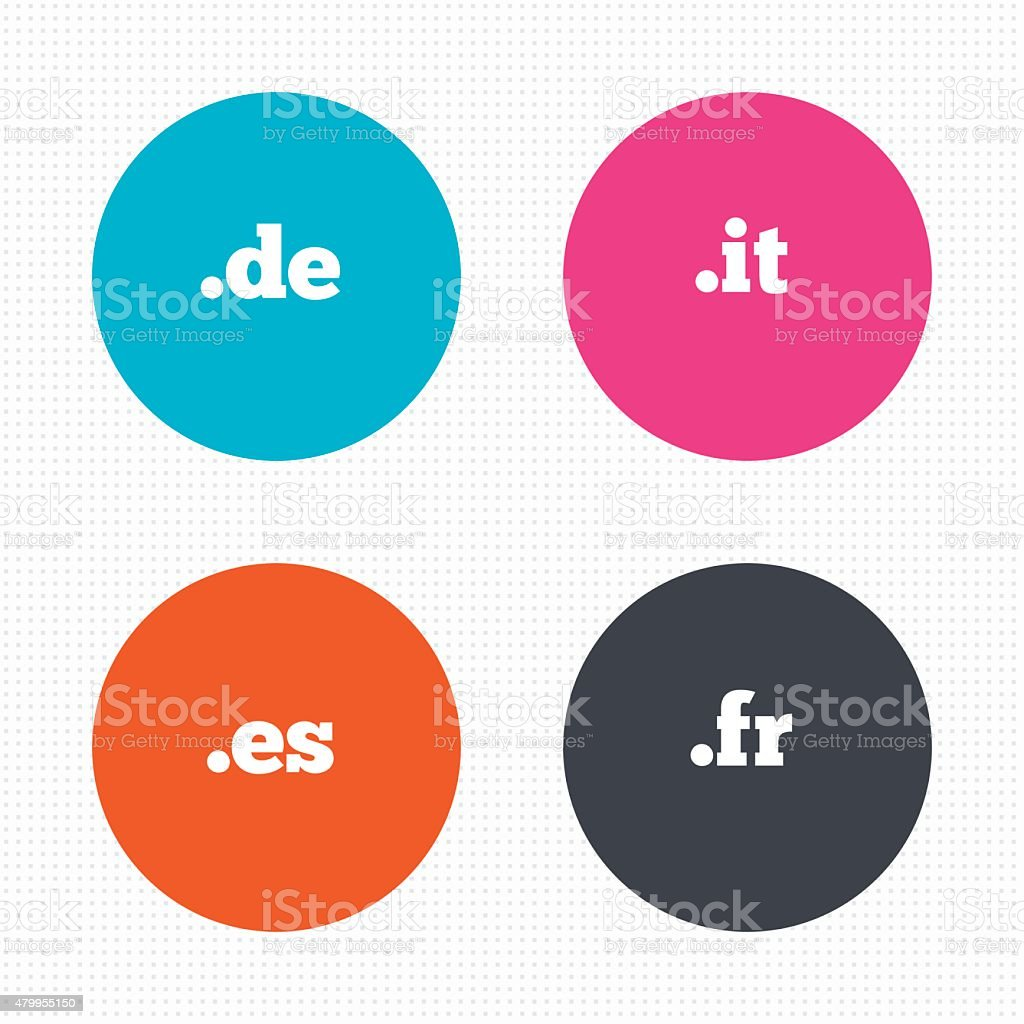 Circle buttons. Top-level internet domain icons. De, It, Es and Fr...