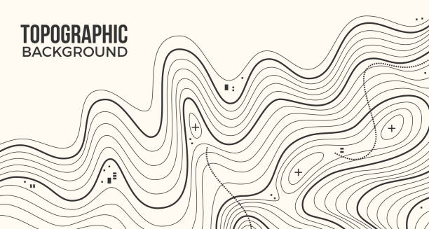 Topographic Background Topographic map lines background. squiggle stock illustrations