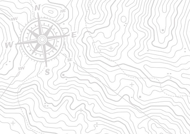 Topographic Compass Map Background Topographic compass map horizontal background isolated on white with space for your copy. EPS 10 file. country geographic area stock illustrations