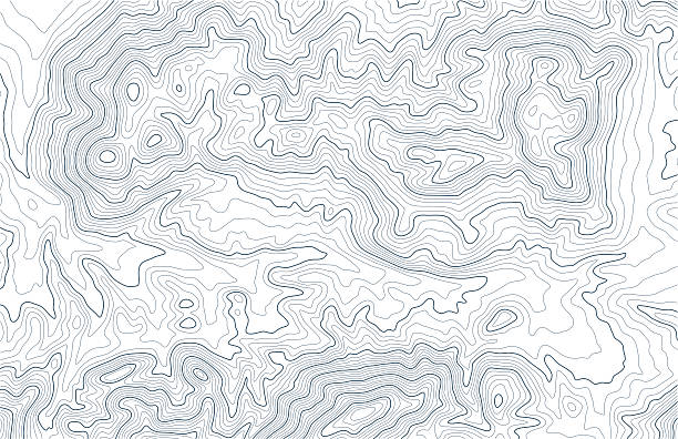 Topographic contour lines in mountainous terrain Topographic contour lines in mountainous landscape. Blue lines on white background. Public domain topographic data compiled by the U.S. Geological Survey, sampled and modified from Horse Thief Canyon US Topo quadrangle, 2012. http://store.usgs.gov and http://ims.er.usgs.gov/gda_services/download?item_id=5603004. contour line stock illustrations