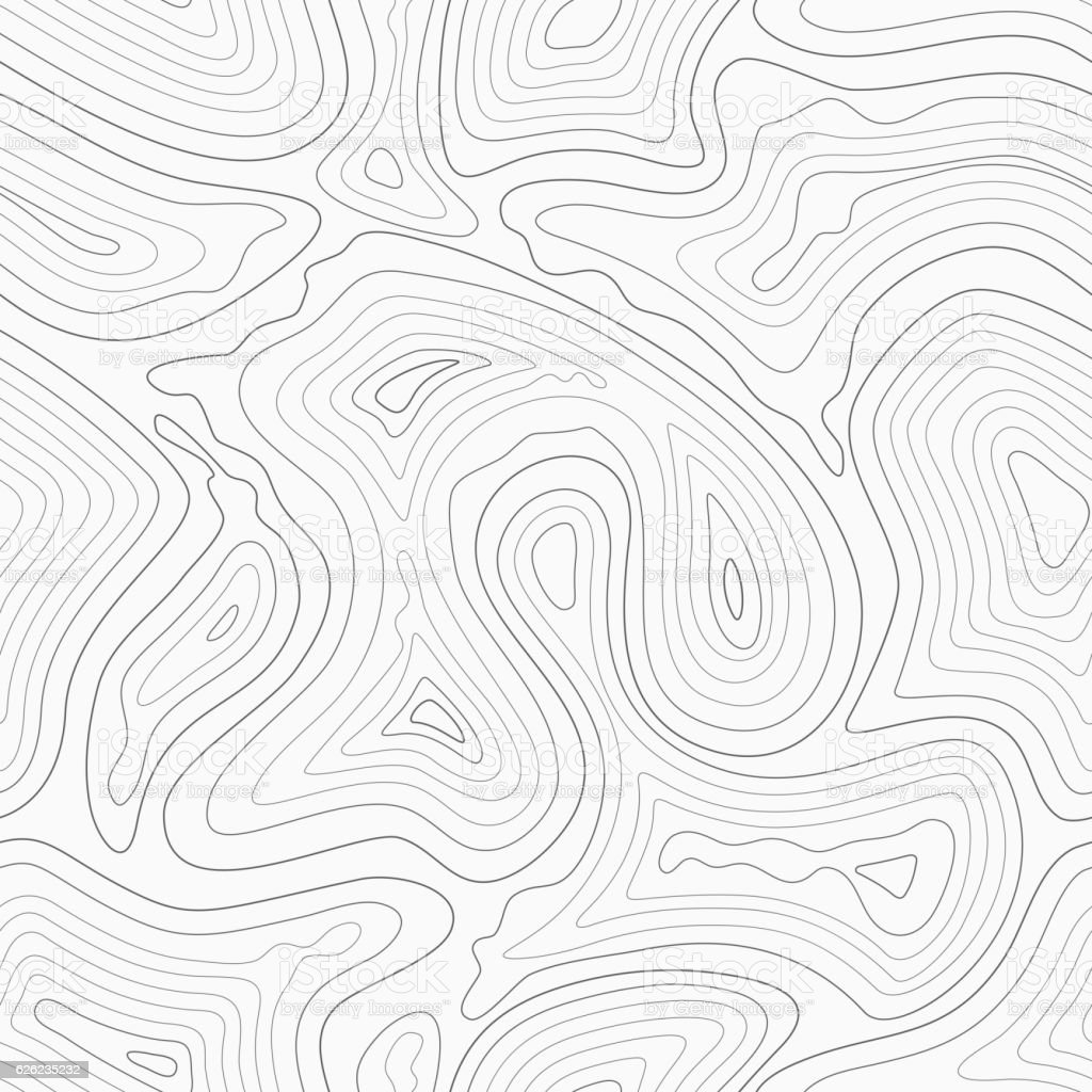 Topographic contour lines vector map seamless pattern