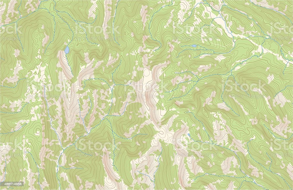 Topographic contours with forest and streams vector art illustration