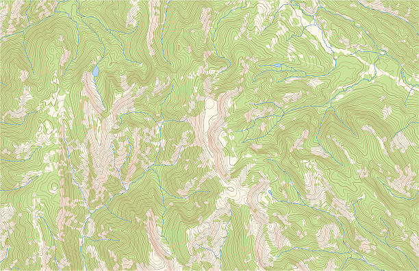 Topographic contours with forest and streams Topographic contour lines in mountainous terrain with forest and streams. Public domain topographic data compiled by the U.S. Geological Survey, sampled and modified from Graham Peak, Wyoming, US Topo quadrangle, 2015. http://store.usgs.gov and http://ims.er.usgs.gov/gda_services/download?item_id=7099469. contour line stock illustrations
