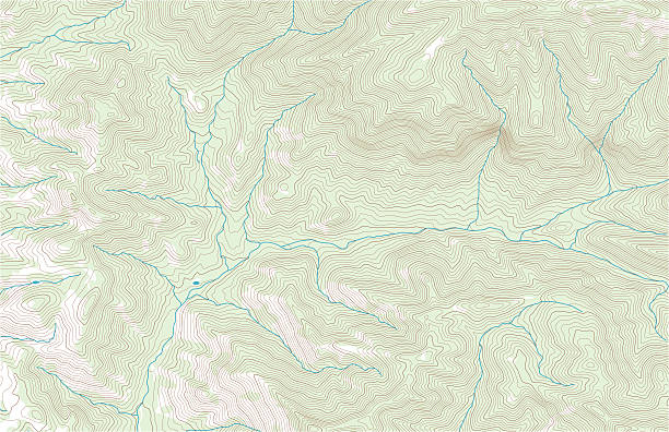 Topographic contours with forest and streams Topographic contour lines in mountainous terrain with woodland and streams. Public domain topographic data compiled by the U.S. Geological Survey (http://store.usgs.gov), sampled and modified from Portal Peak, Arizona, US Topo quadrangle, 2014 (http://ims.er.usgs.gov/gda_services/download?item_id=6719567). Also in this series: contour line stock illustrations